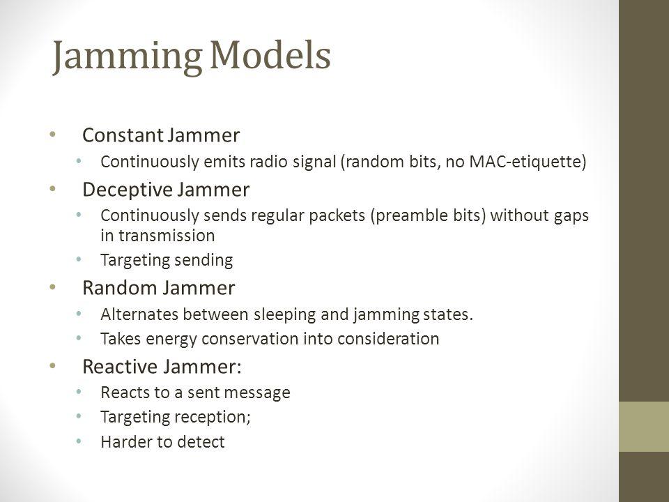 Jamming Models Constant Jammer Deceptive Jammer Random Jammer