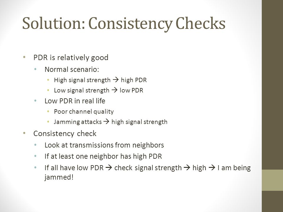 Solution: Consistency Checks