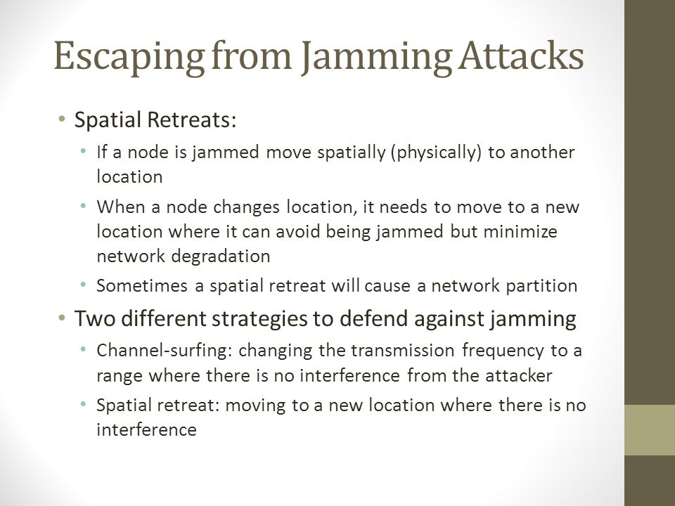 Escaping from Jamming Attacks