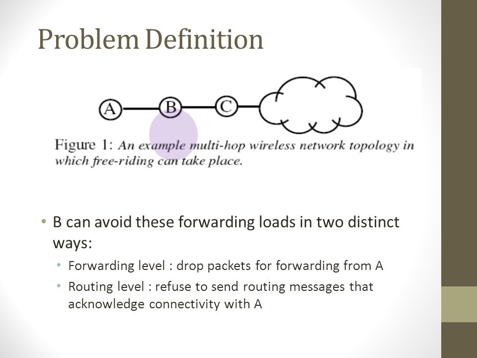 Problem Definition B can avoid these forwarding loads in two distinct ways: Forwarding level : drop packets for forwarding from A.