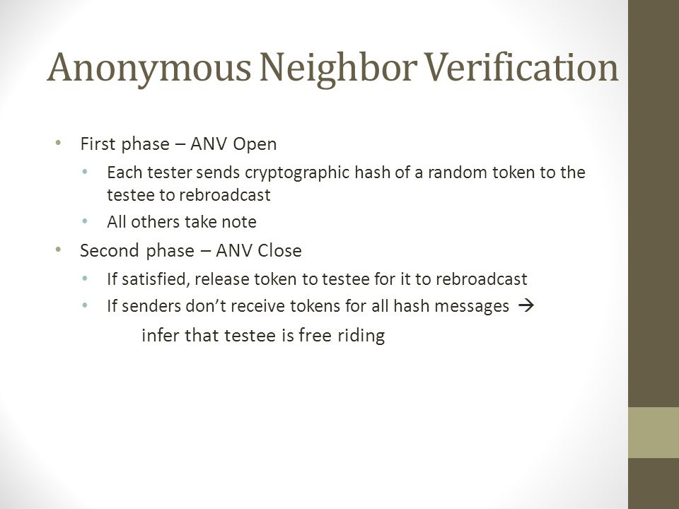 Anonymous Neighbor Verification