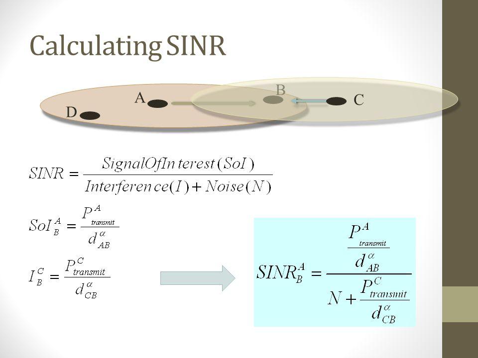 Calculating SINR B A C D