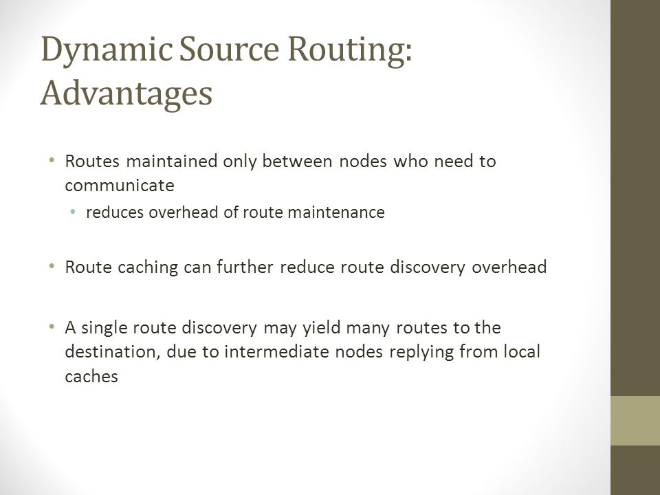 Dynamic Source Routing: Advantages
