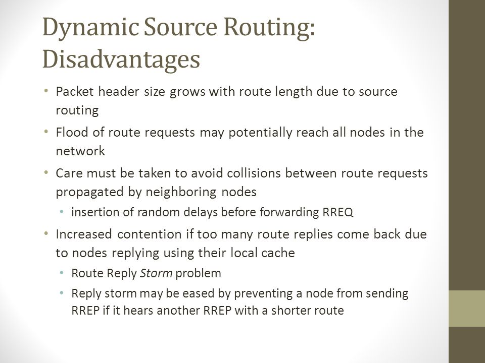 Dynamic Source Routing: Disadvantages