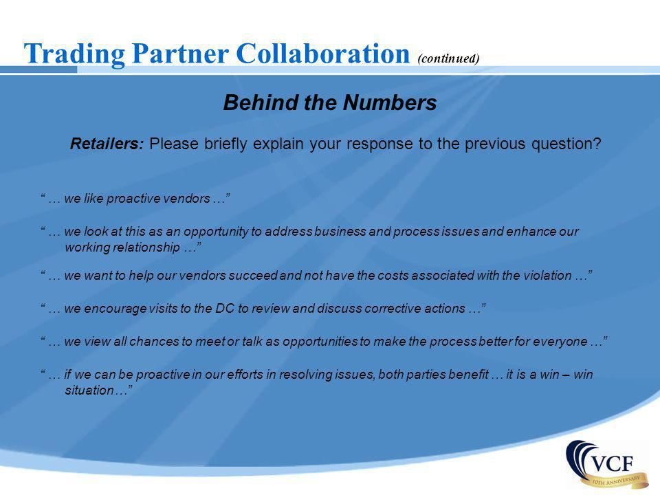 Trading Partner Collaboration (continued)