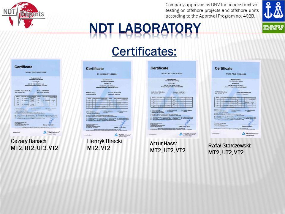 Ndt laboRatory Certificates: Cezary Banach: MT2, RT2, UT3, VT2