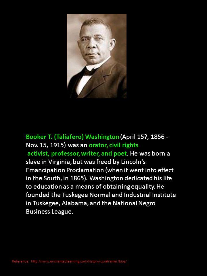 Booker T. (Taliafero) Washington (April 15. , 1856 - Nov