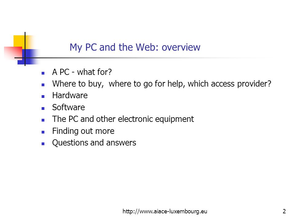 My PC and the Web: overview
