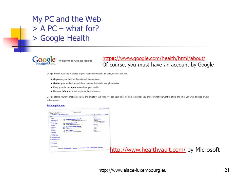 My PC and the Web > A PC – what for > Google Health
