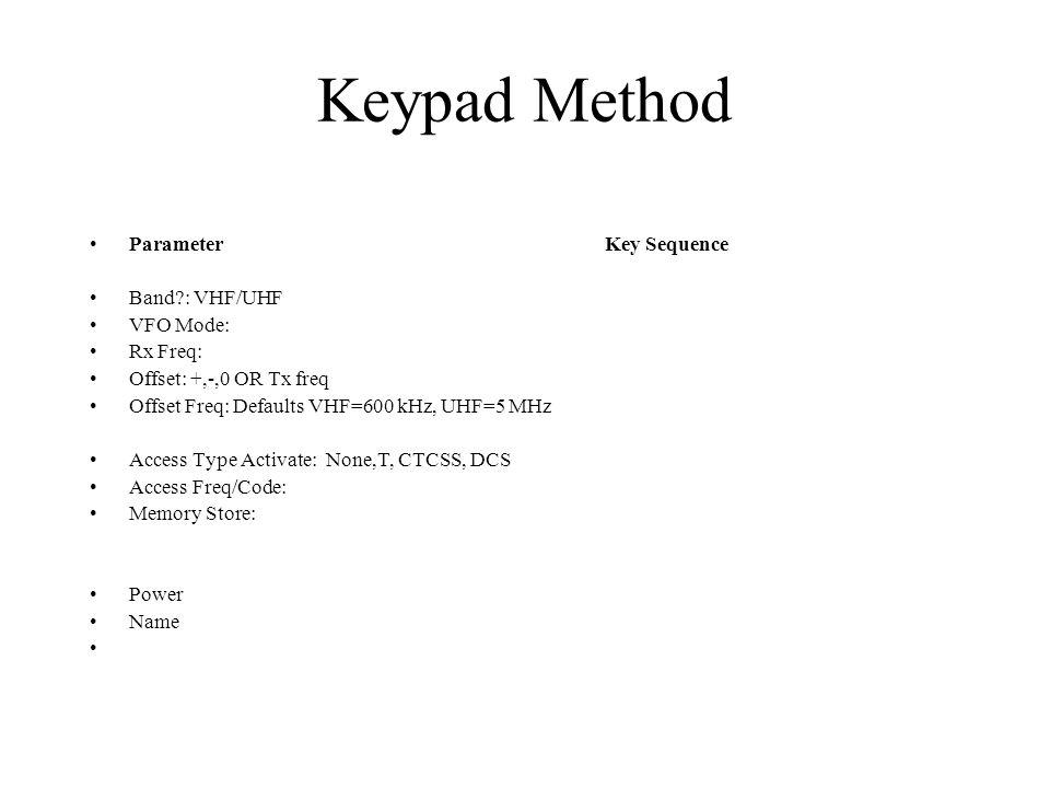 Keypad Method Parameter Key Sequence Band : VHF/UHF VFO Mode: Rx Freq: