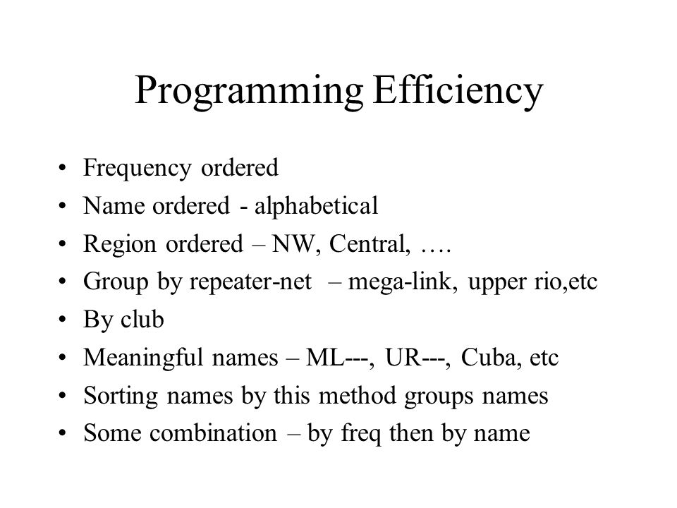 Programming Efficiency