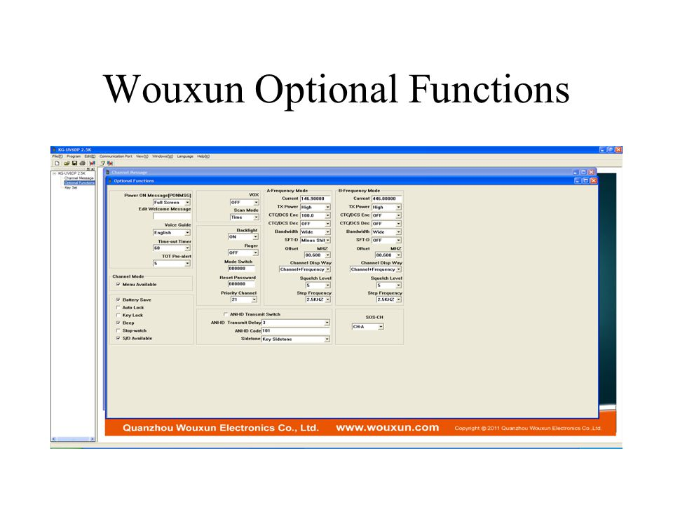 Wouxun Optional Functions
