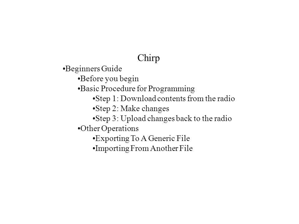 Basic Procedure for Programming