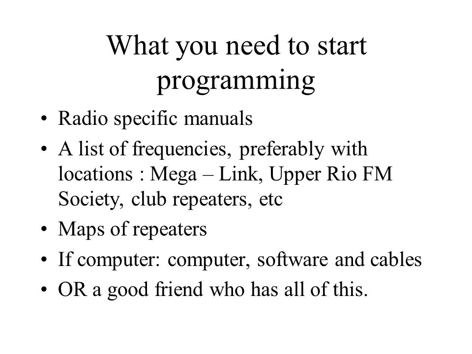What you need to start programming