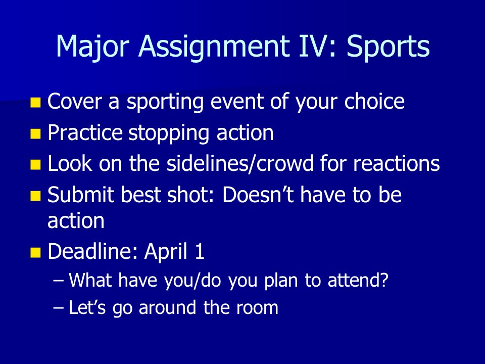 Major Assignment IV: Sports