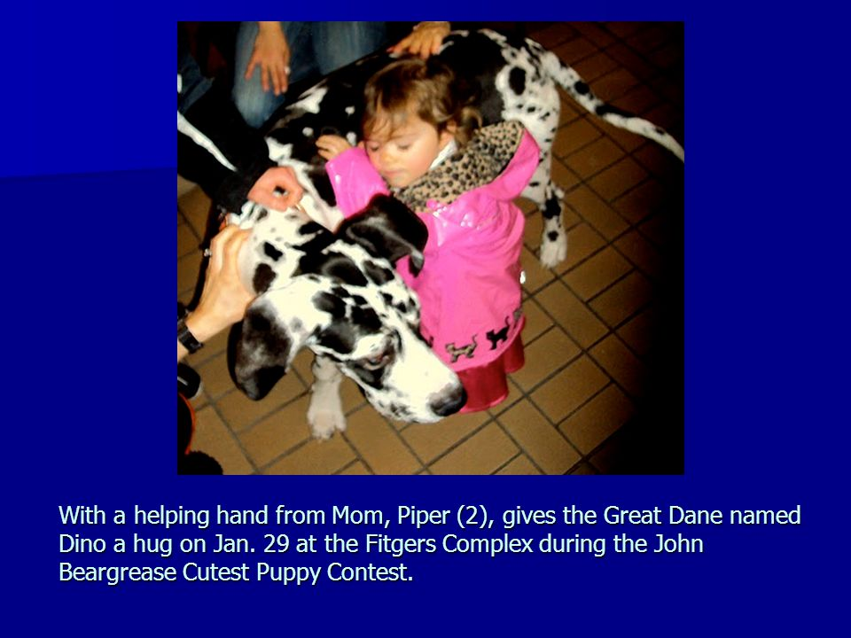 With a helping hand from Mom, Piper (2), gives the Great Dane named Dino a hug on Jan.