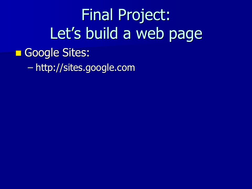 Final Project: Let's build a web page