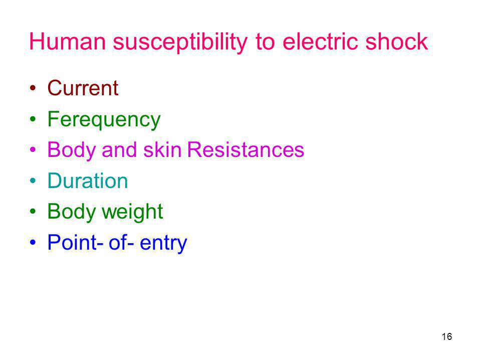 Human susceptibility to electric shock