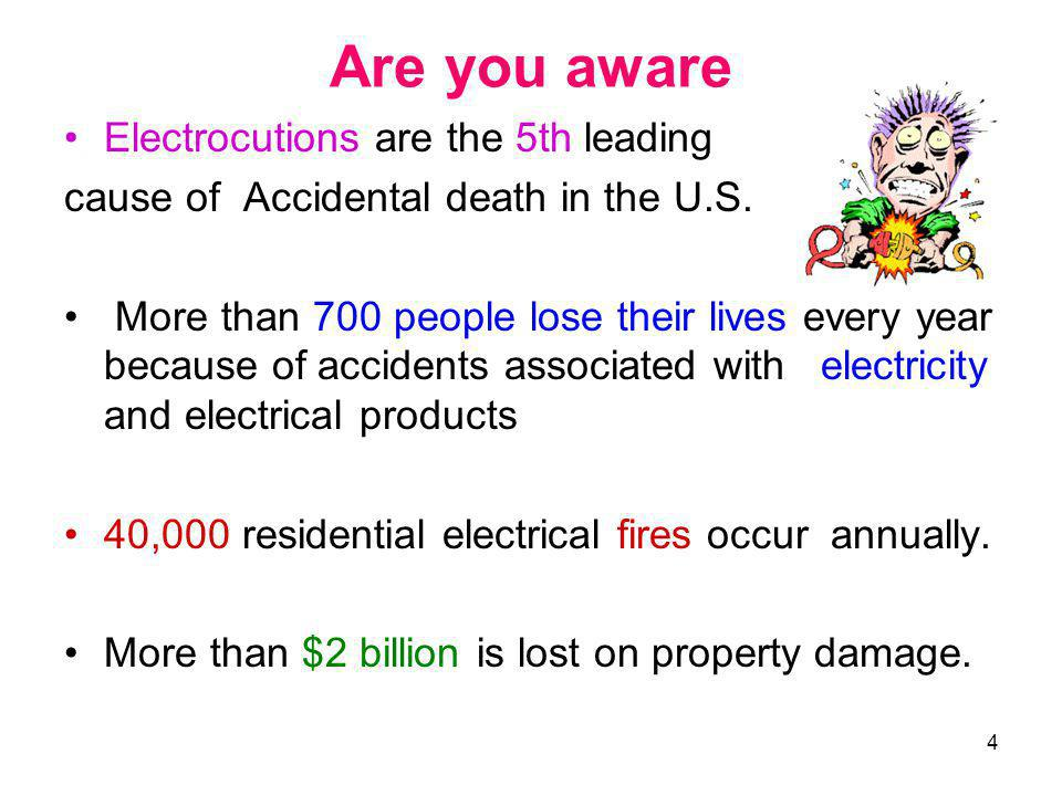 Are you aware Electrocutions are the 5th leading