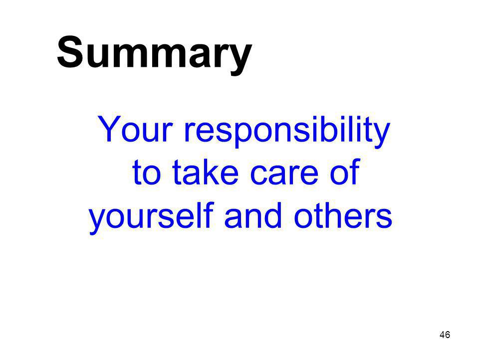 Summary Your responsibility to take care of yourself and others