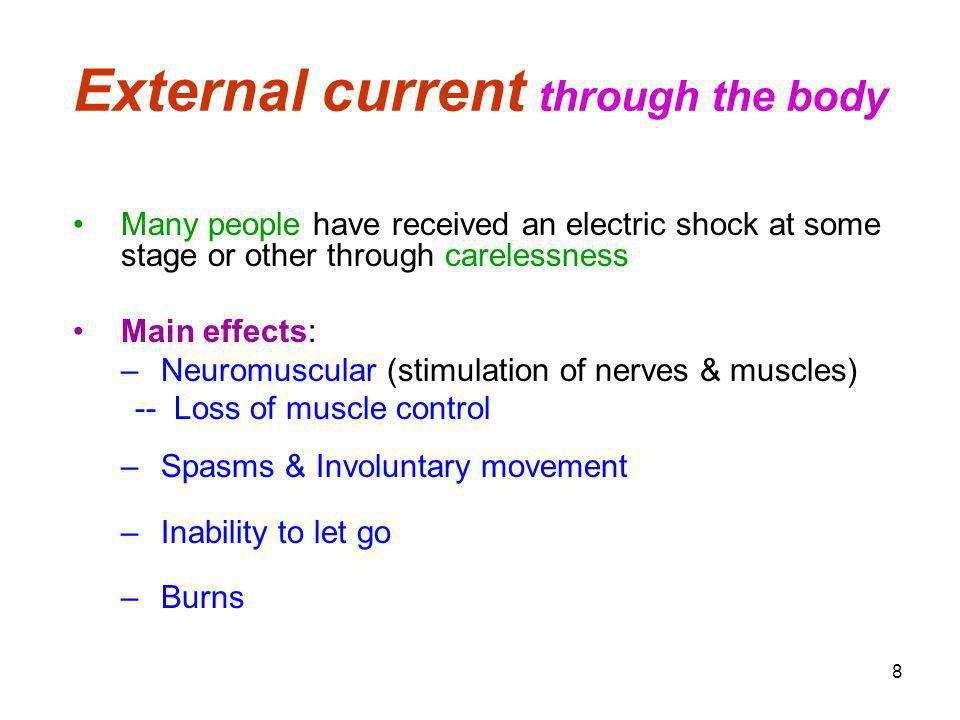 External current through the body