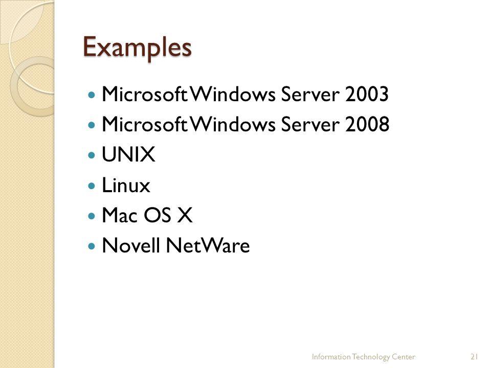 Examples Microsoft Windows Server 2003 Microsoft Windows Server 2008