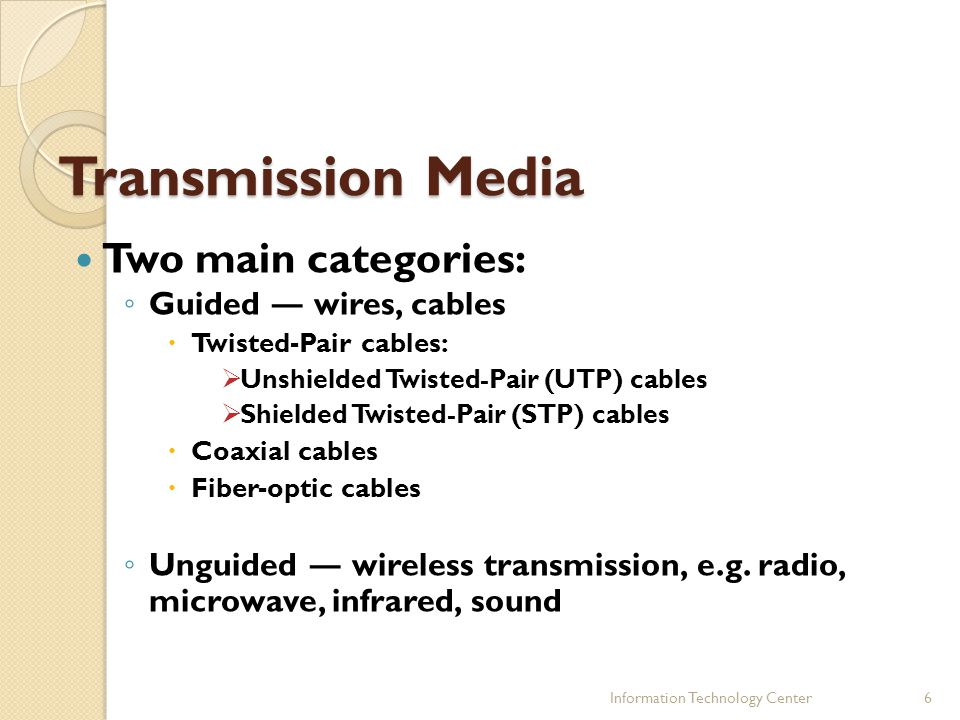 Transmission Media Two main categories: Guided ― wires, cables