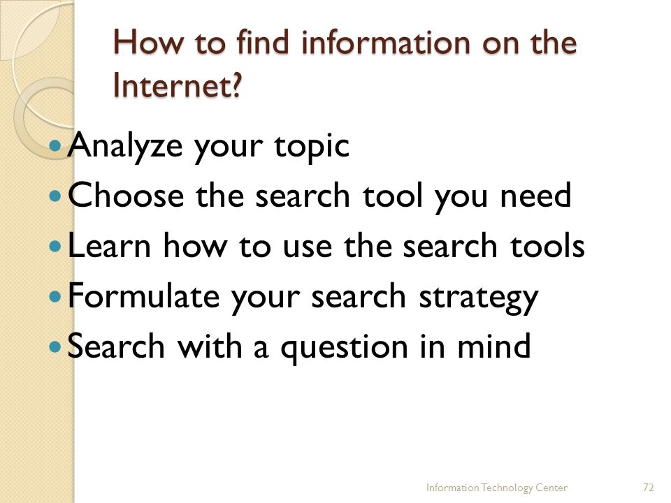 How to find information on the Internet