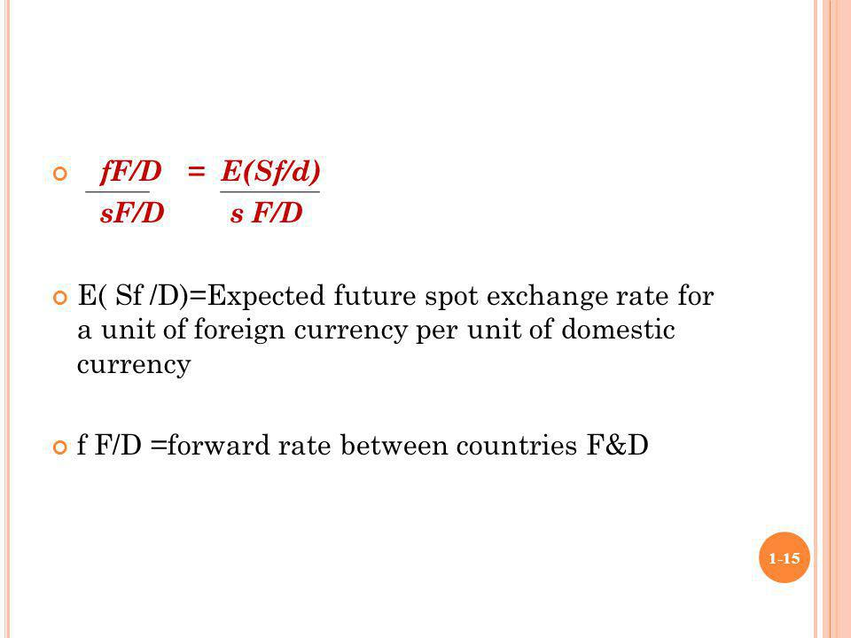 fF/D = E(Sf/d) sF/D s F/D. E( Sf /D)=Expected future spot exchange rate for a unit of foreign currency per unit of domestic currency.