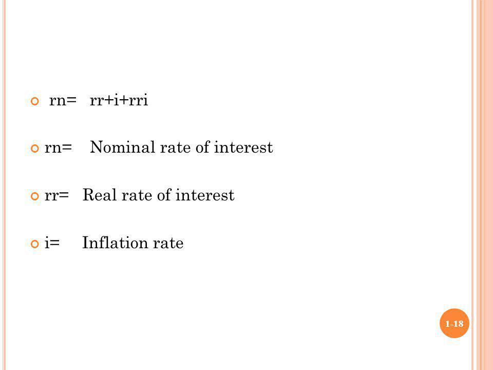 rn= rr+i+rri rn= Nominal rate of interest rr= Real rate of interest i= Inflation rate