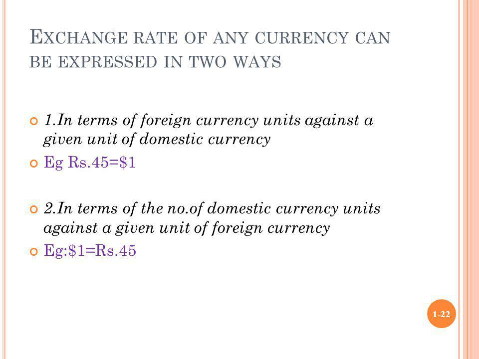 Exchange rate of any currency can be expressed in two ways