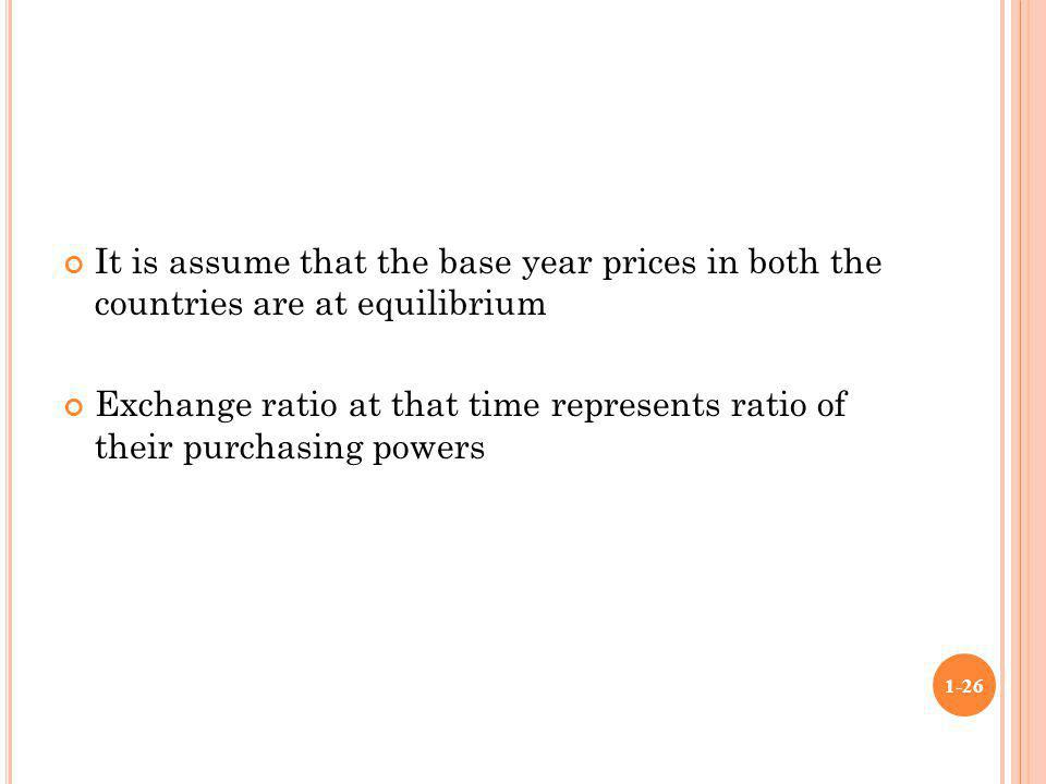It is assume that the base year prices in both the countries are at equilibrium