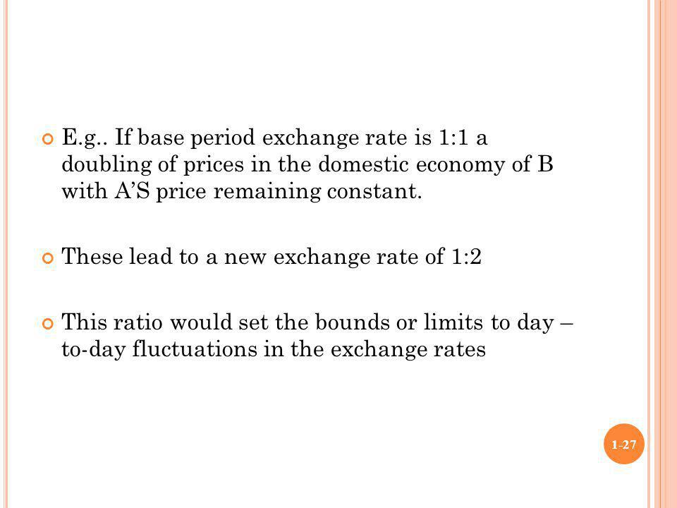 E.g.. If base period exchange rate is 1:1 a doubling of prices in the domestic economy of B with A'S price remaining constant.