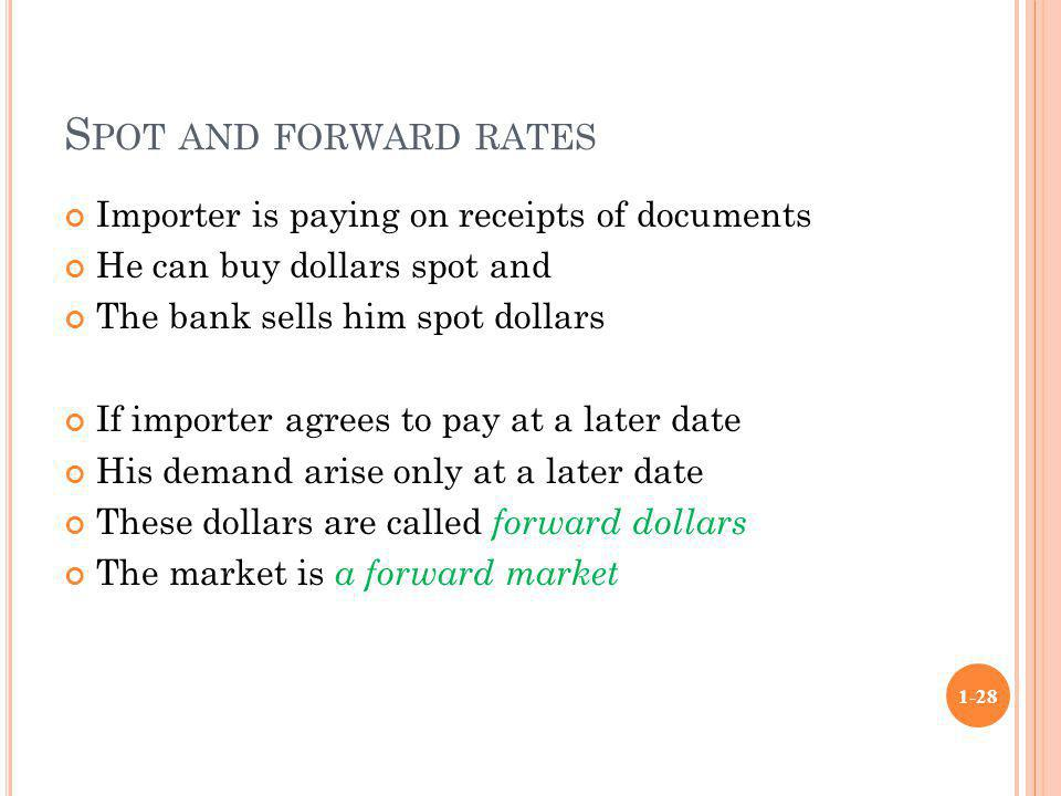 Spot and forward rates Importer is paying on receipts of documents
