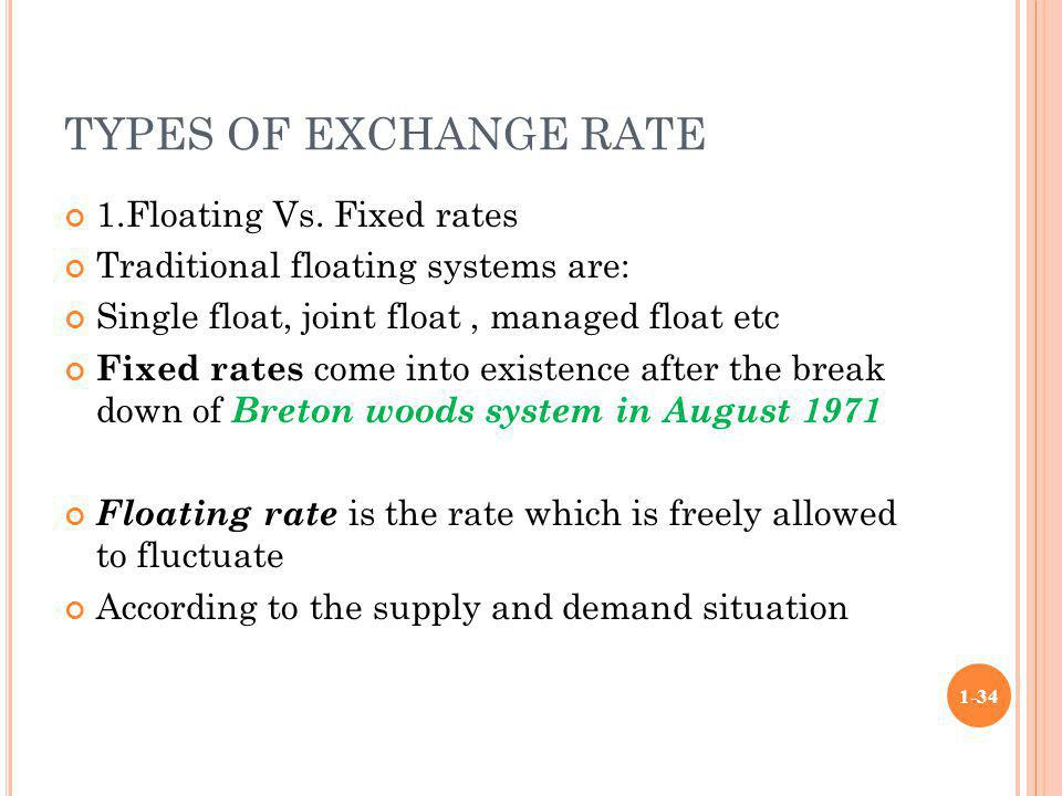 TYPES OF EXCHANGE RATE 1.Floating Vs. Fixed rates