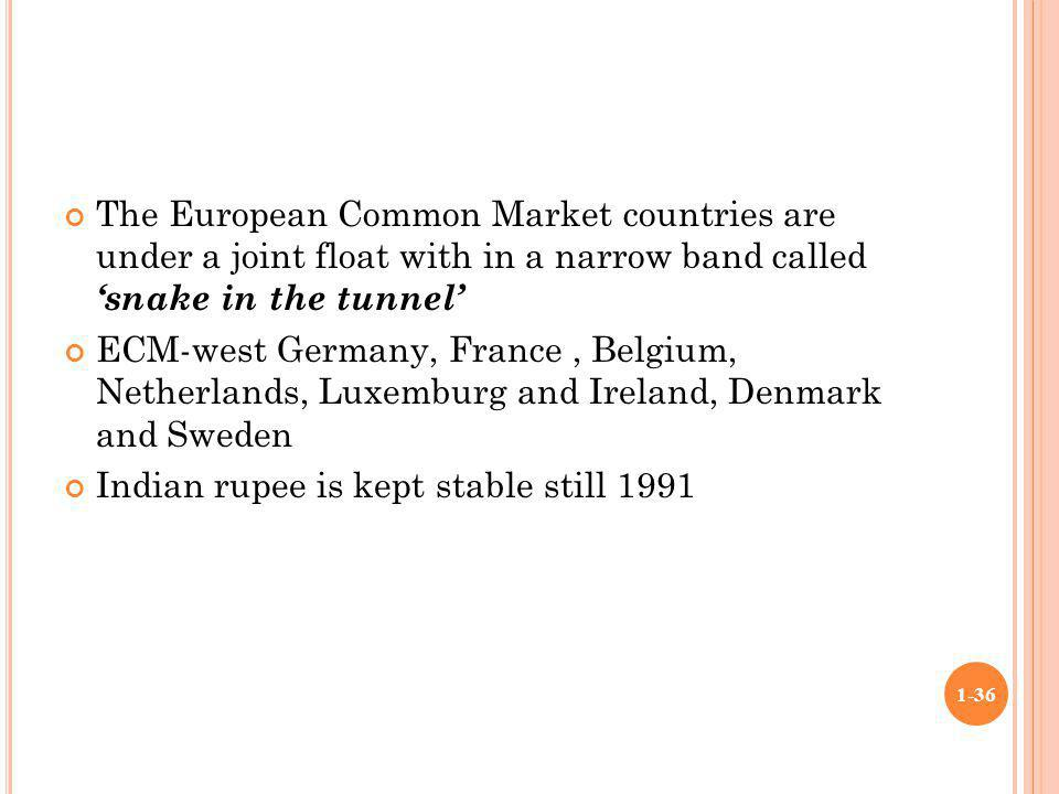 The European Common Market countries are under a joint float with in a narrow band called 'snake in the tunnel'
