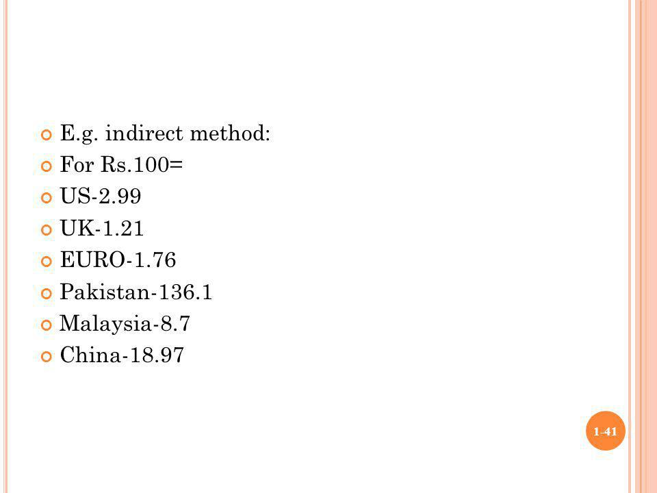 E.g. indirect method: For Rs.100= US-2.99 UK-1.21 EURO-1.76 Pakistan-136.1 Malaysia-8.7 China-18.97