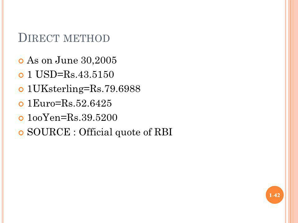 Direct method As on June 30,2005 1 USD=Rs.43.5150