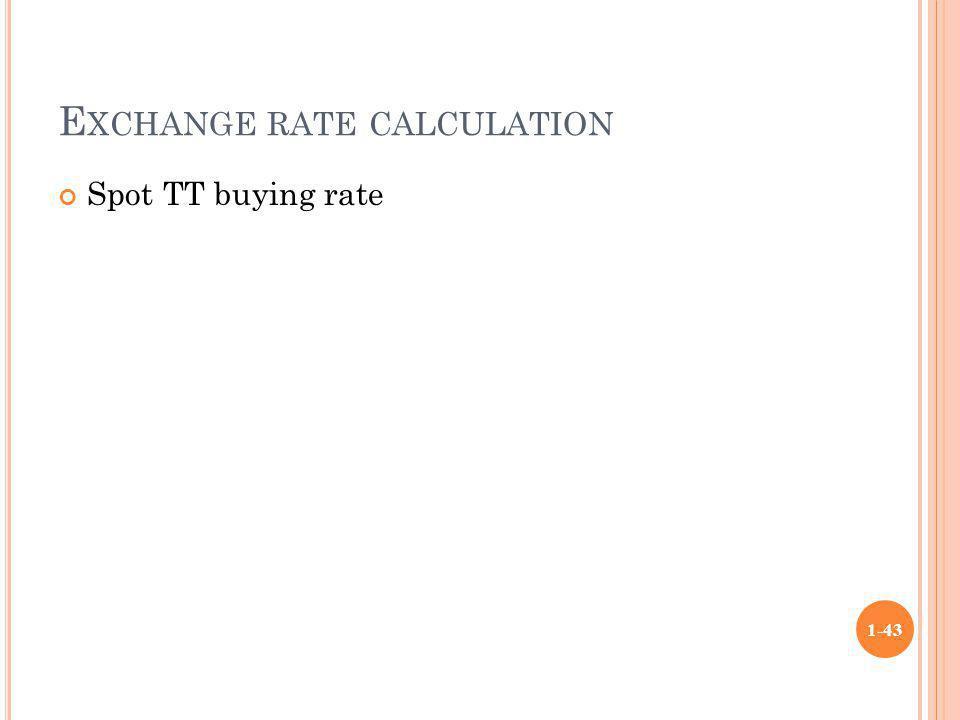 Exchange rate calculation