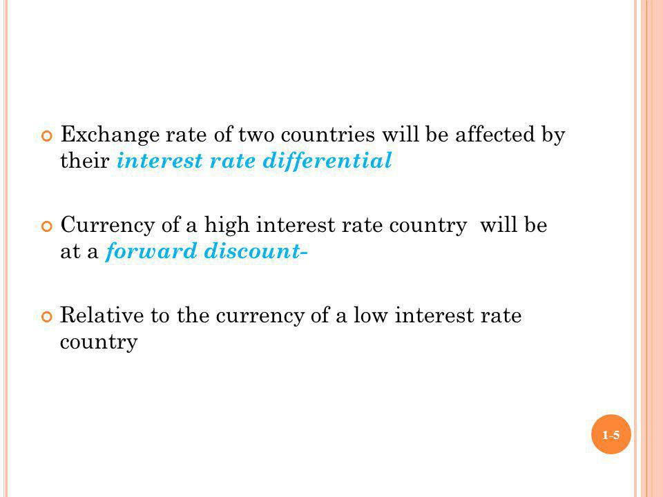 Exchange rate of two countries will be affected by their interest rate differential