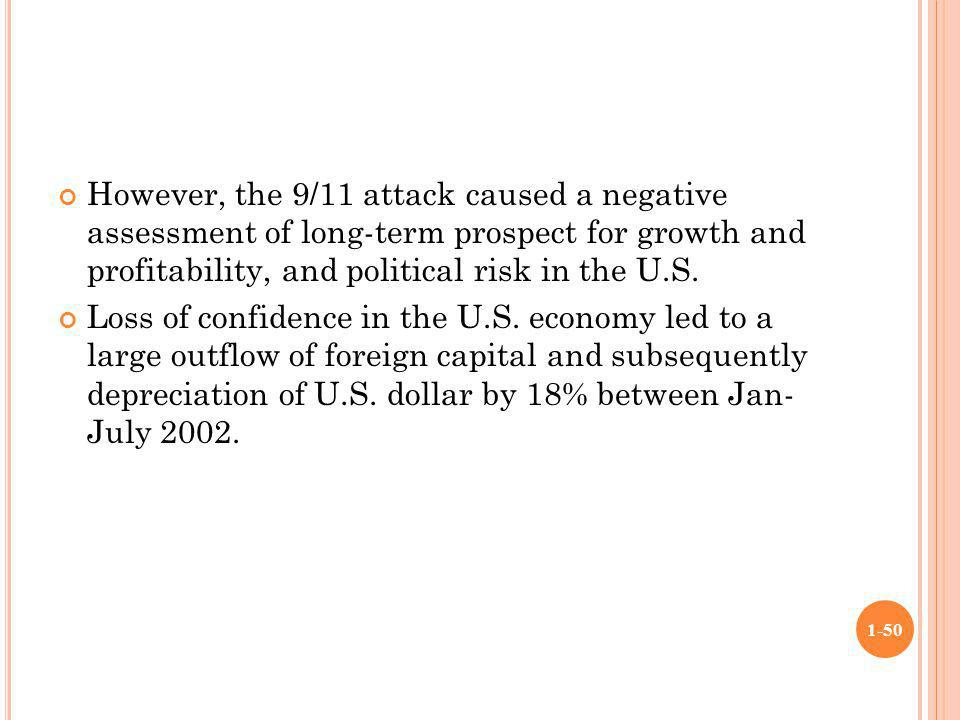 However, the 9/11 attack caused a negative assessment of long-term prospect for growth and profitability, and political risk in the U.S.