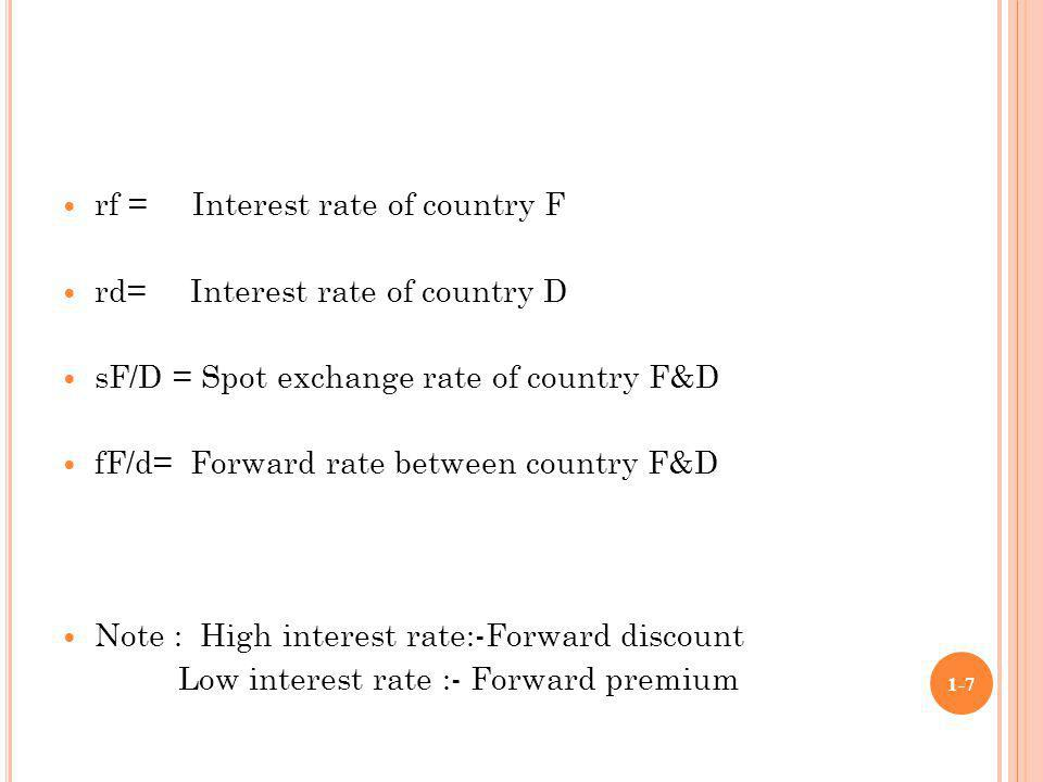 rf = Interest rate of country F