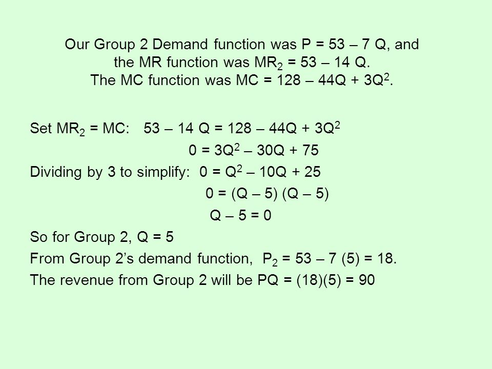 Our Group 2 Demand function was P = 53 – 7 Q, and the MR function was MR2 = 53 – 14 Q. The MC function was MC = 128 – 44Q + 3Q2.