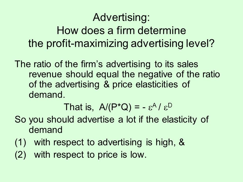 Advertising: How does a firm determine the profit-maximizing advertising level