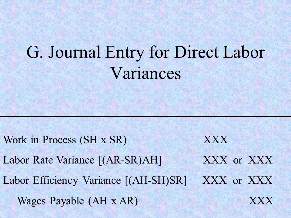 G. Journal Entry for Direct Labor Variances