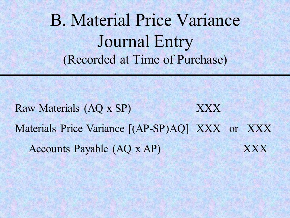 B. Material Price Variance Journal Entry (Recorded at Time of Purchase)