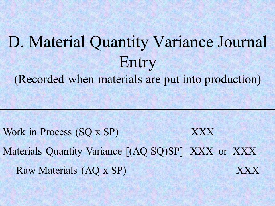 D. Material Quantity Variance Journal Entry (Recorded when materials are put into production)