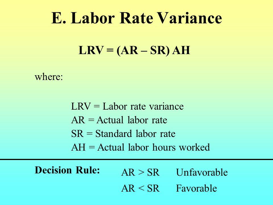E. Labor Rate Variance LRV = (AR – SR) AH where: