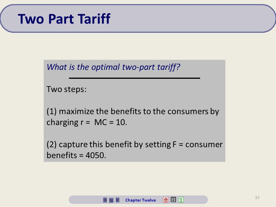 Two Part Tariff What is the optimal two-part tariff Two steps: