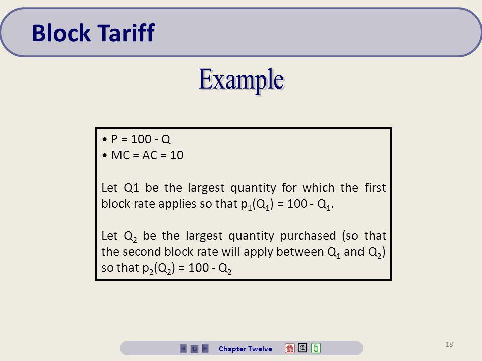 Block Tariff Example P = 100 - Q MC = AC = 10